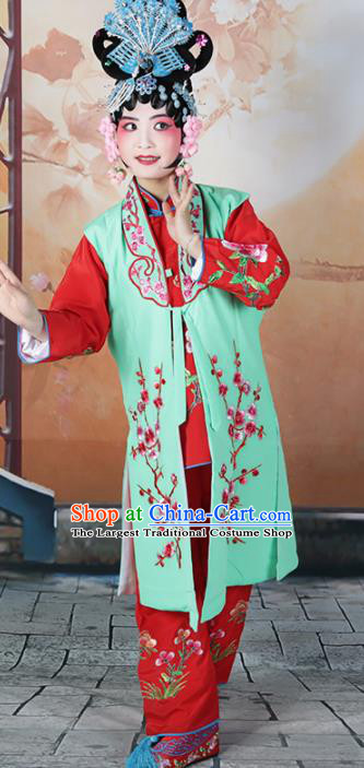 Traditional Chinese Beijing Opera Young Lady Costume Peking Opera Maidservants Green Clothing