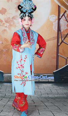 Traditional Chinese Beijing Opera Young Lady Costume Peking Opera Maidservants Light Blue Clothing