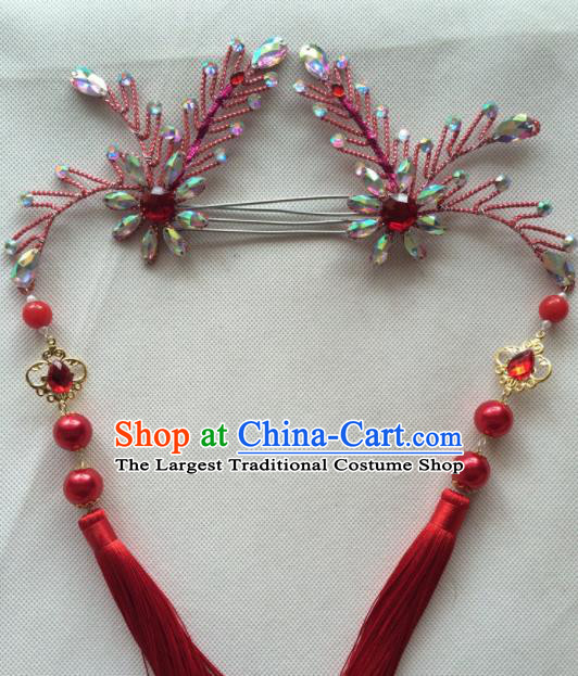 Asian Chinese Beijing Opera Hair Accessories Red Tassel Hair Clip Ancient Princess Hairpins for Women