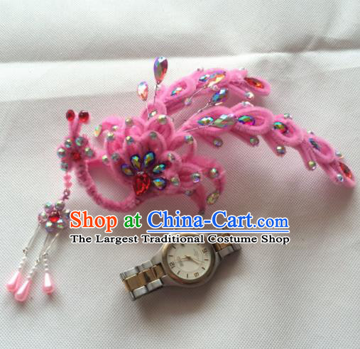 Asian Chinese Beijing Opera Hair Accessories Pink Phoenix Hair Clip Ancient Princess Hairpins for Women