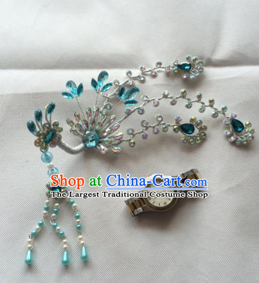 Asian Chinese Beijing Opera Hair Accessories Blue Crystal Phoenix Hair Clip Ancient Princess Hairpins for Women