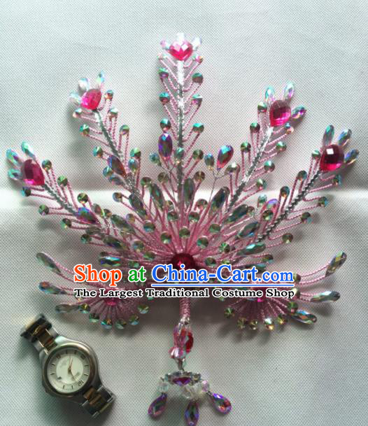 Asian Chinese Beijing Opera Actress Hair Accessories Ancient Princess Pink Phoenix Hairpins for Women