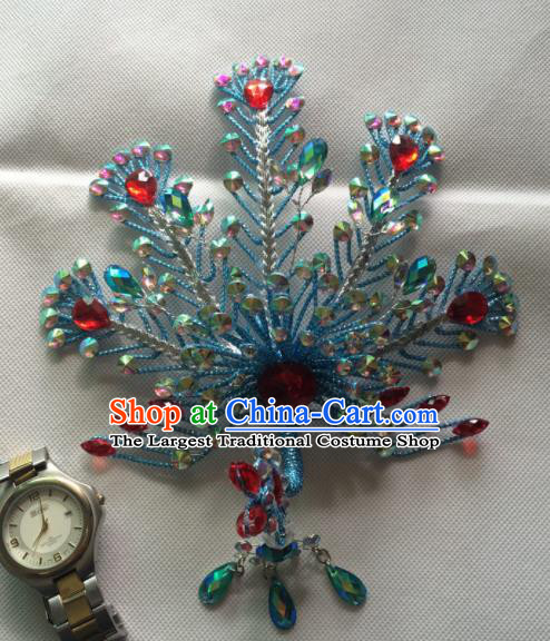 Asian Chinese Beijing Opera Actress Hair Accessories Ancient Princess Blue Phoenix Hairpins for Women