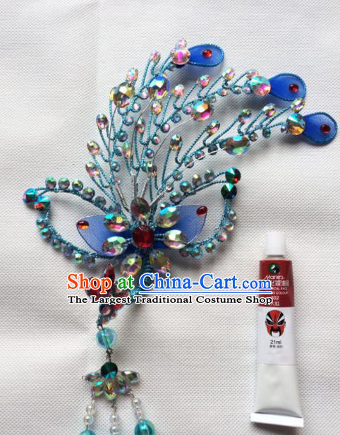 Asian Chinese Beijing Opera Actress Hair Accessories Hair Clip Ancient Princess Blue Hairpins for Women