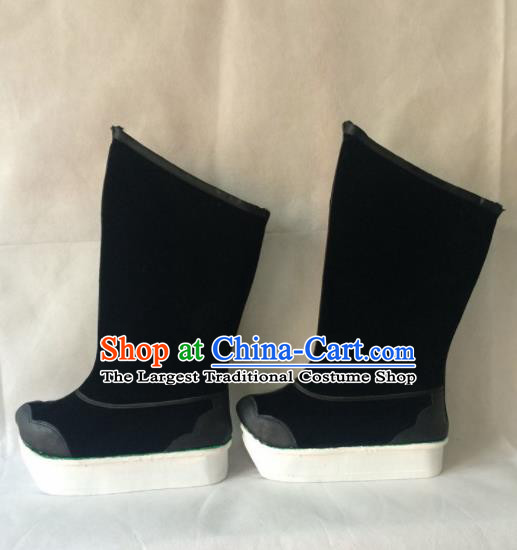 Asian Chinese Beijing Opera Black Boots Ancient Swordsman Shoes for Men