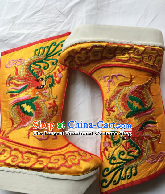 Asian Chinese Beijing Opera Takefu Golden Embroidered Boots Ancient Emperor Shoes for Men