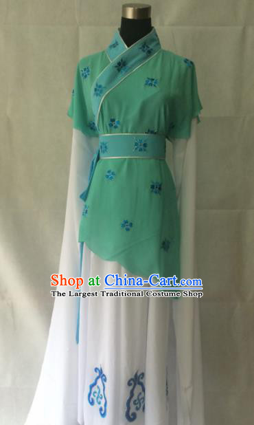 Traditional Chinese Beijing Opera Young Lady Costume Ancient Peri Green Dress for Women