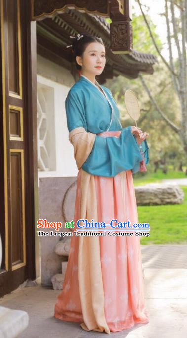 Traditional Chinese Song Dynasty Historical Costume Ancient Nobility Lady Hanfu Dress Complete Set for Women