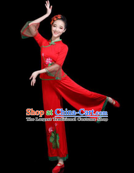 Chinese Traditional Yangko Dance Costume Folk Dance Fan Dance Red Clothing for Women