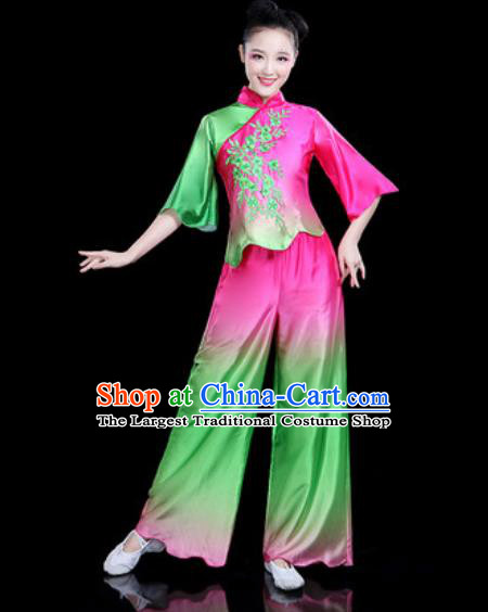 Chinese Traditional Folk Dance Yangko Dance Costume Fan Dance Rosy Clothing for Women