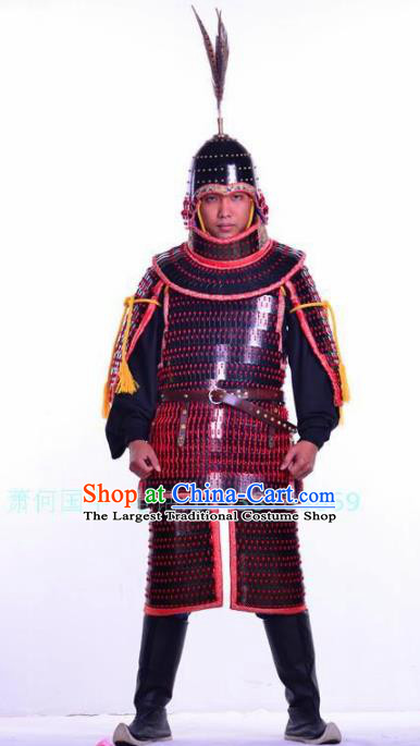 Chinese Ancient Drama Song Dynasty General Body Armor and Helmet Complete Set
