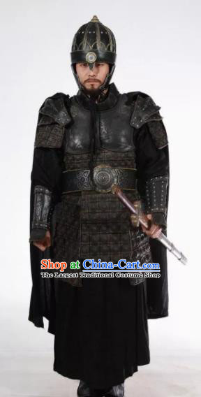 Chinese Ancient Drama Han Dynasty Warrior General Body Armor and Helmet Complete Set