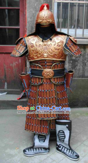 Chinese Ancient Drama Han Dynasty Warrior General Golden Body Armor and Helmet Complete Set