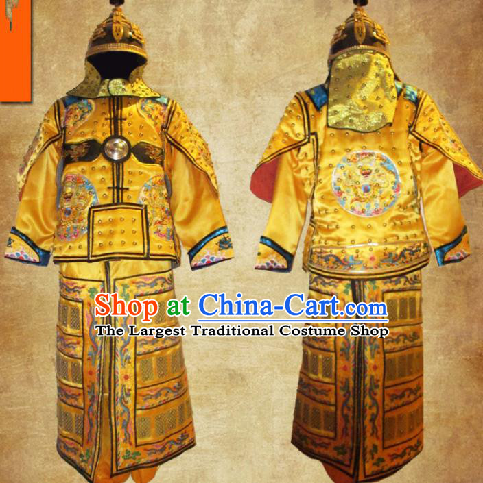Chinese Qing Dynasty Manchu General Costume Ancient Drama Soldier Body Armor and Helmet Complete Set
