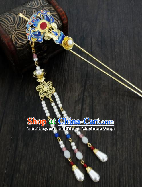 Chinese Ancient Palace Hair Accessories Traditional Classical Step Shake Blueing Tassel Hairpins for Women
