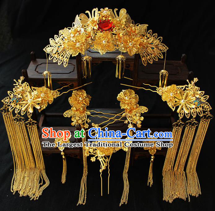 Chinese Ancient Palace Hair Accessories Traditional Classical Golden Phoenix Coronet Hairpins for Women