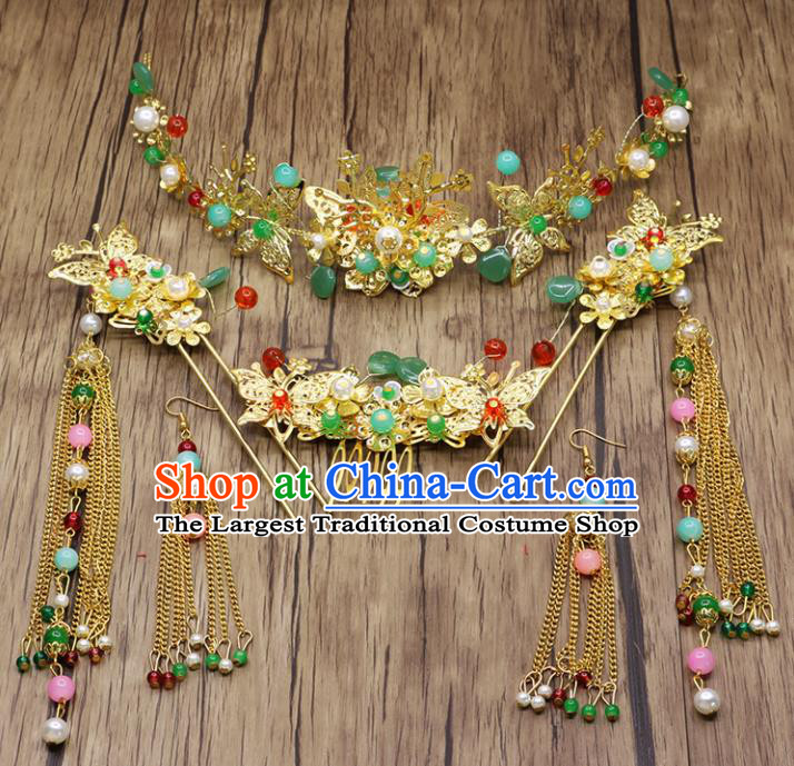 Chinese Ancient Bride Phoenix Coronet Hair Accessories Traditional Classical Tassel Hairpins for Women