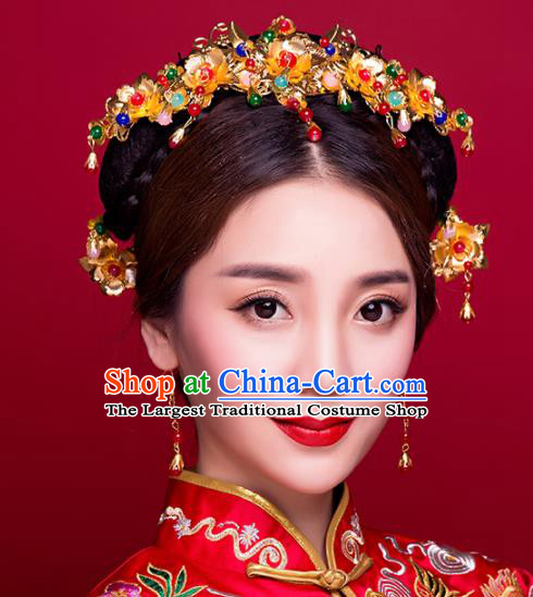 Chinese Ancient Bride Wedding Phoenix Coronet Hair Accessories Traditional Classical Tassel Hairpins for Women