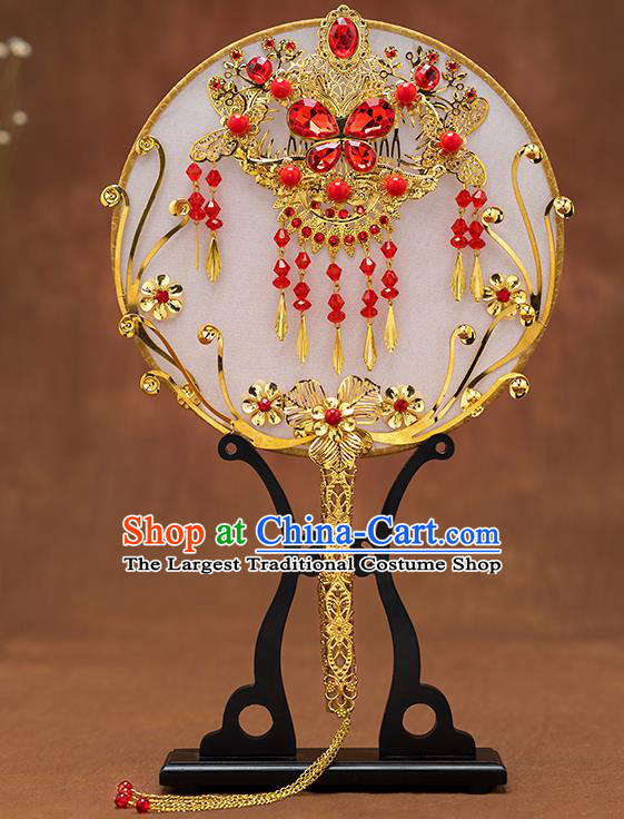 Chinese Ancient Bride Red Crystal Butterfly Round Fans Traditional Wedding Classical Palace Fans for Women