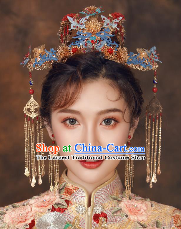 Chinese Ancient Palace Hair Accessories Hairpins Traditional Bride Blue Butterfly Phoenix Coronet for Women