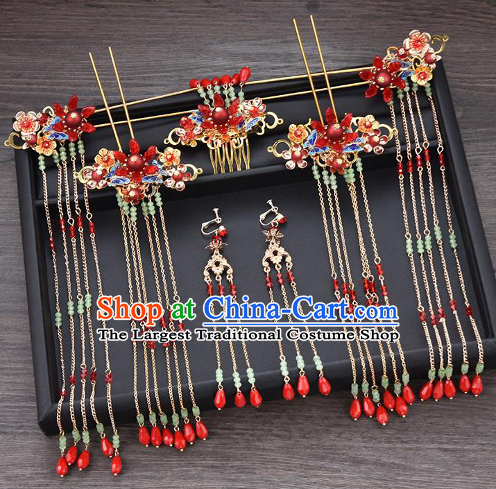Chinese Ancient Hair Accessories Wedding Tassel Hairpins Traditional Bride Hair Comb for Women