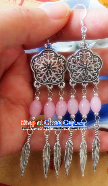 Chinese Ancient Princess Jewelry Accessories Traditional Ethnic Pink Beads Earrings for Women
