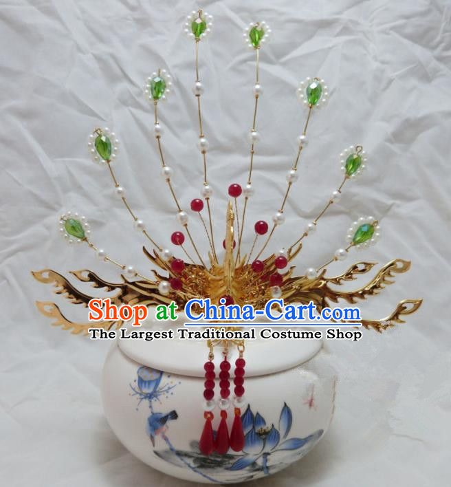 Chinese Ancient Palace Queen Tassel Phoenix Coronet Hairpins Hair Accessories Traditional Hair Comb for Women