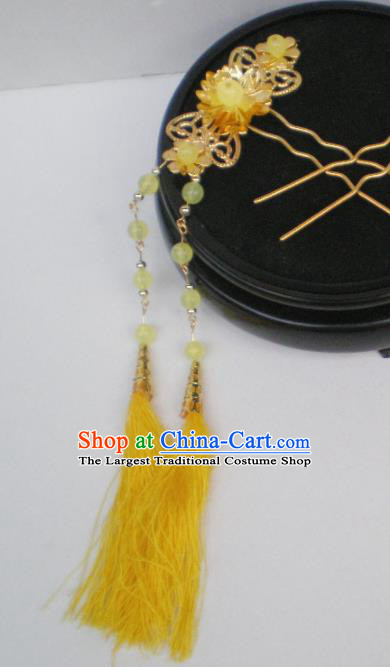 Chinese Traditional Palace Yellow Tassel Hairpins Ancient Princess Hair Accessories for Women