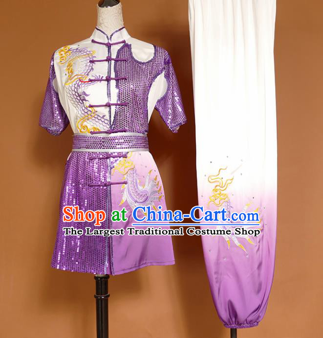 Top Kung Fu Group Competition Costume Martial Arts Training Embroidered Dragon Purple Uniform for Men