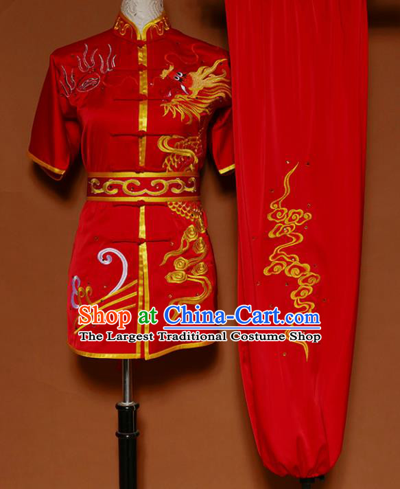 Top Kung Fu Group Competition Costume Martial Arts Training Embroidered Dragon Red Uniform for Men