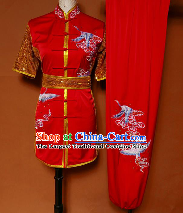 Top Kung Fu Group Competition Costume Martial Arts Training Embroidered Cranes Red Uniform for Men