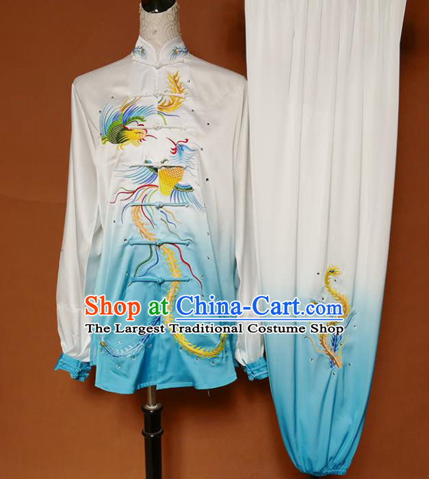 Top Group Kung Fu Costume Tai Ji Training Embroidered Phoenix Blue Uniform Clothing for Women
