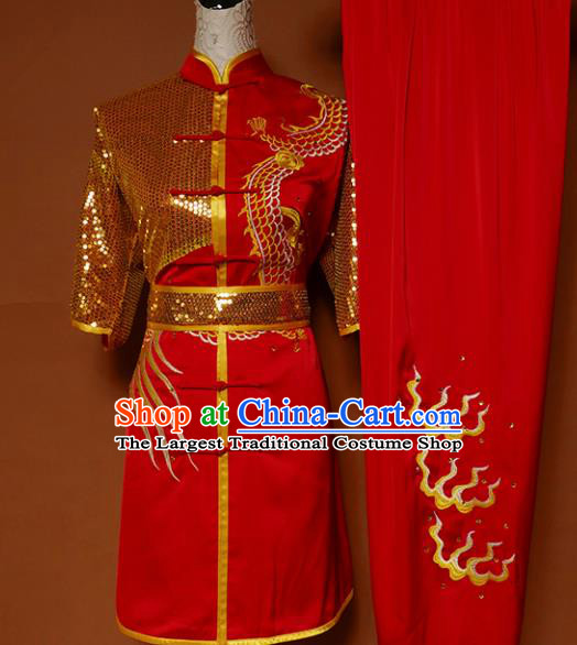 Top Kung Fu Group Competition Costume Martial Arts Training Embroidered Red Uniform for Men