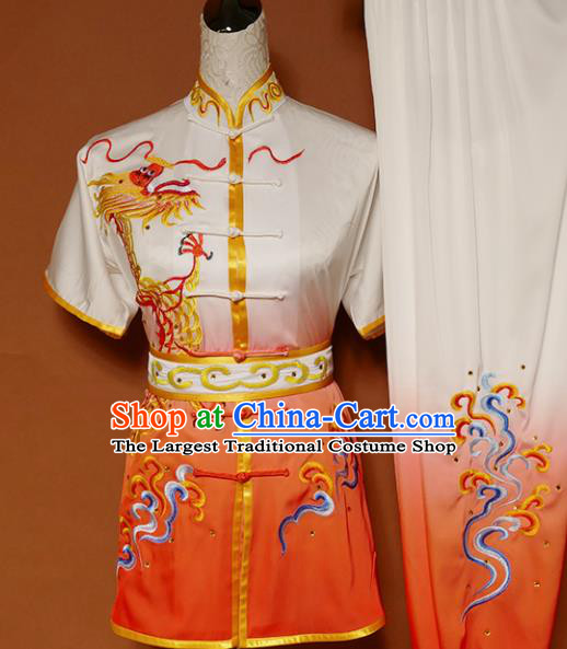 Top Kung Fu Group Competition Costume Martial Arts Wushu Training Embroidered Dragon Orange Uniform for Men