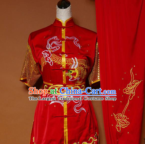 Top Kung Fu Group Competition Costume Martial Arts Wushu Training Embroidered Dragon Red Uniform for Men