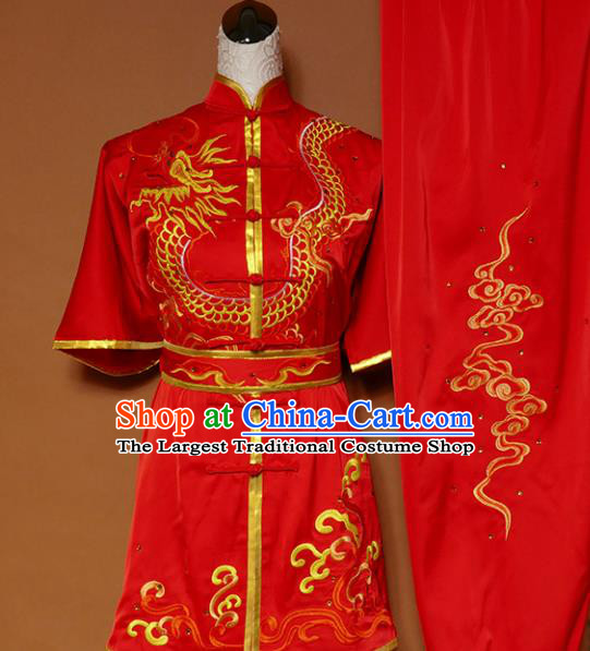 Top Kung Fu Group Competition Costume Martial Arts Wushu Training Embroidered Red Uniform for Men