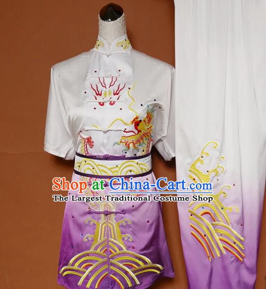 Top Kung Fu Group Competition Costume Martial Arts Wushu Training Embroidered Dragon Purple Uniform for Men