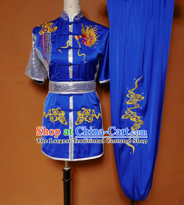 Top Kung Fu Competition Costume Group Martial Arts Training Embroidered Dragon Royalblue Uniform for Men