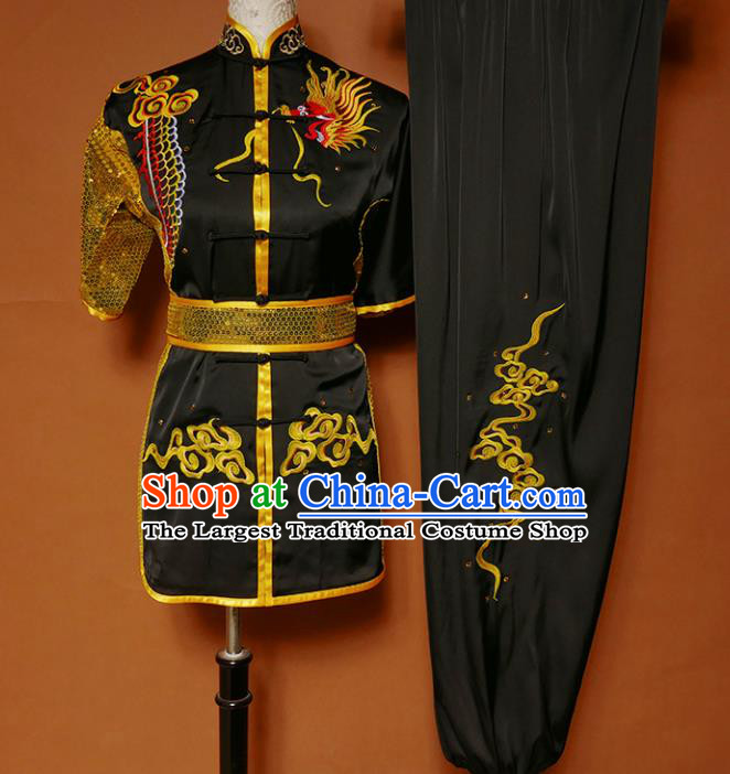Top Kung Fu Competition Costume Group Martial Arts Training Embroidered Dragon Black Uniform for Men