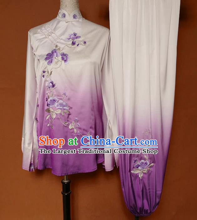Top Group Kung Fu Costume Martial Arts Training Uniform Tai Ji Embroidered Purple Clothing for Women