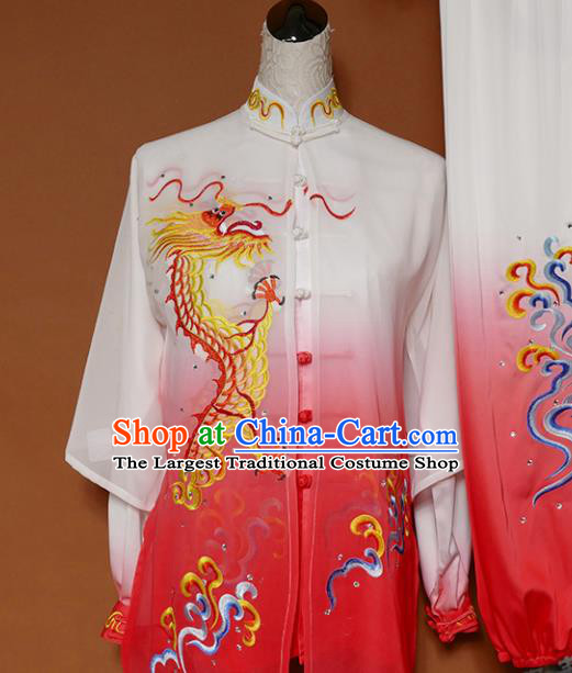 Top Grade Kung Fu Costume Martial Arts Training Tai Ji Embroidered Dragon Rosy Uniform for Adults