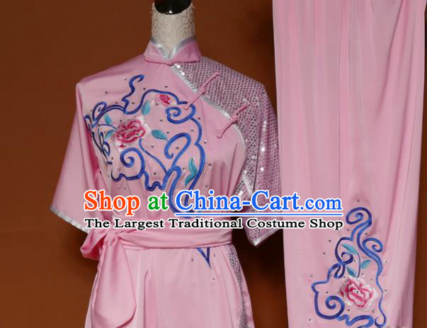 Top Martial Arts Training Embroidered Pink Uniform Kung Fu Group Competition Costume for Women