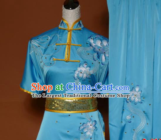 Top Martial Arts Training Embroidered Blue Uniform Kung Fu Group Competition Costume for Women