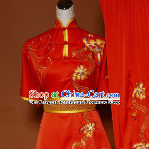 Top Martial Arts Training Embroidered Red Uniform Kung Fu Group Competition Costume for Women