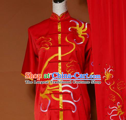 Top Kung Fu Group Competition Costume Martial Arts Wushu Embroidered Red Uniform for Men