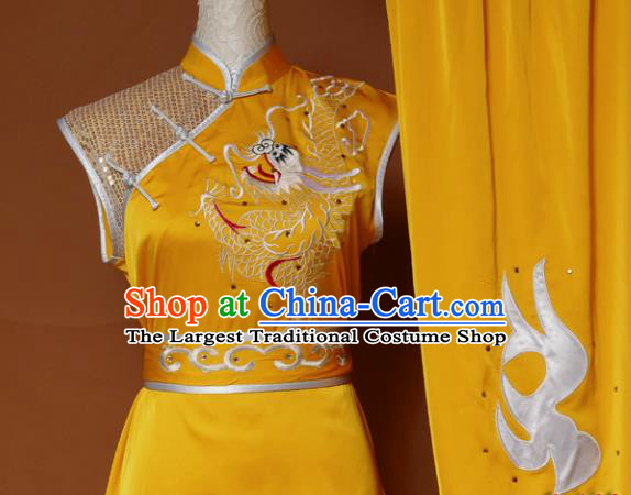 Top Kung Fu Group Competition Costume Martial Arts Wushu Embroidered Dragon Golden Uniform for Men