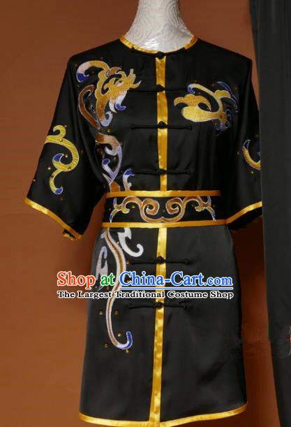 Top Kung Fu Group Competition Costume Martial Arts Wushu Black Uniform for Men