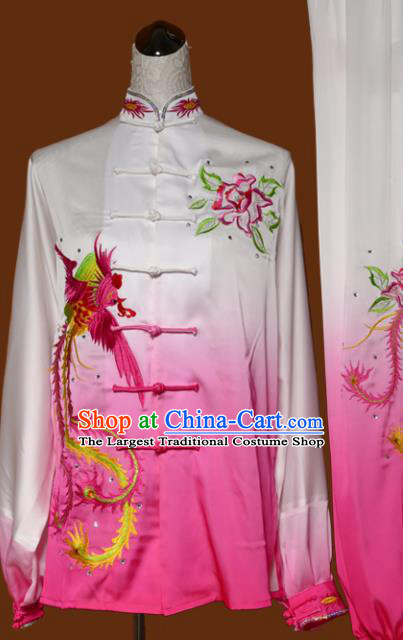 Chinese Traditional Tai Chi Embroidered Peony Rosy Uniform Kung Fu Group Competition Costume for Women