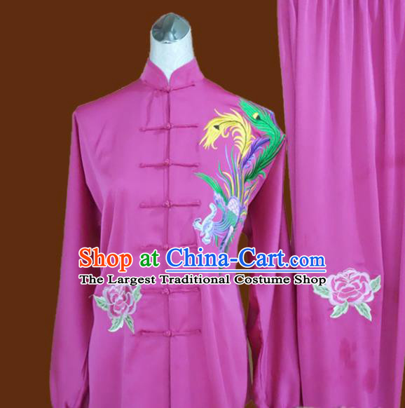 Chinese Traditional Tai Chi Rosy Uniform Kung Fu Group Competition Embroidered Phoenix Costume for Women