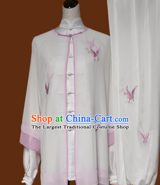 Chinese Traditional Tai Chi Embroidered Butterfly White Uniform Kung Fu Group Competition Costume for Women
